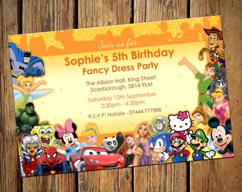 Fancy Dress Childrens Party Invitations Personalised