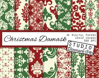 Christmas Damask Digital Paper - Red Green Ivory - Holiday Decorative Floral Lace Backgrounds - Commercial Use - Instant Download Damask
