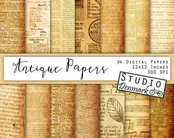 Antique Papers Digital Pack - 14 Vintage Ephemera Papers / Newspaper / Dictionary Pages - Commercial Use - Instant Download