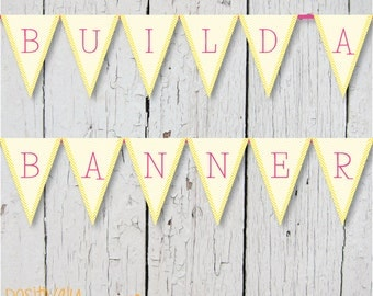 DIY Custom Banner - Yellow and Pink Chevron - Printable A-Z, 0-9 5x7""