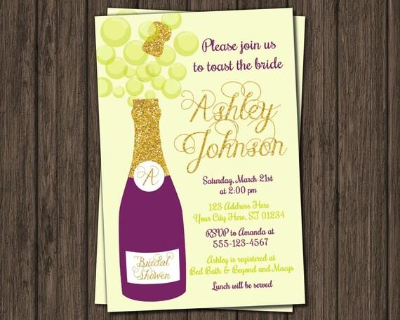 Champagne bridal shower invitation plum and lime by for Champagne brunch bridal shower