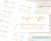 diaper raffle tickets printable baby shower DIY white gold glitter diaper raffle gender neutral digital shower games - INSTANT DOWNLOAD