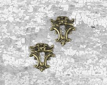 Antique Brass Escutcheons, Roaring Lion Escutcheons, Antique Furniture Hardware, Keyhole Escutcheons, French Furniture Hardware A47