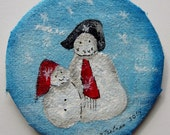 Snowmen Christmas Ornament Made from Recycled Materials!