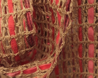 Beige summer scarf, cotton knitted scarf, skinny scarf, coral skin shawl, handkerchief scarf