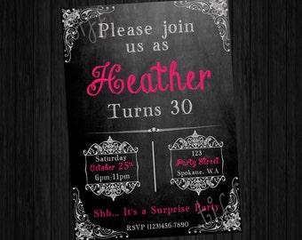 Chalkboard Style Printable Birthday Invitation