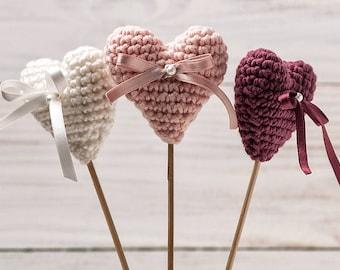 Heart Wedding Cake Topper Heart Cake Topper Crochet Heart Wedding Decor Centerpiece Wedding Favor Pale Pink