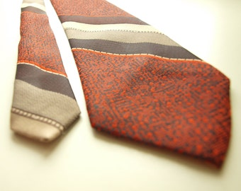 Vintage Soviet Necktie Made by SARMA in Latvia 1977 orange with articles striped red brown gray washable excellent condition Free Shipping