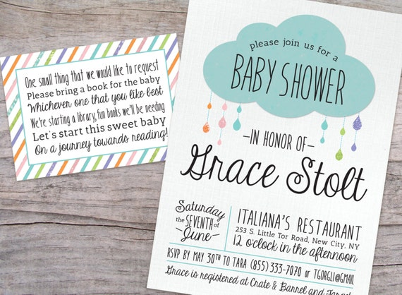 Rain Drop Glitter Baby Shower Invitation and Book Request Card