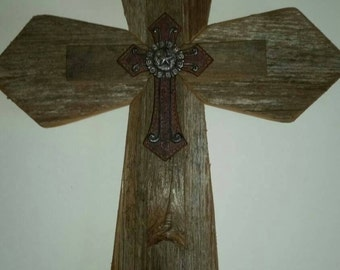 Unique WESTERN Style Sale! Rustic Cedar Wood Wall Cross Decor Barbed Wire Repurposed Reclaimed Barn Wood Country Western Gift GREAT GIFT!