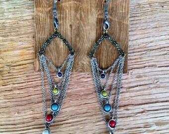 Silver beaded bohemian style earrings