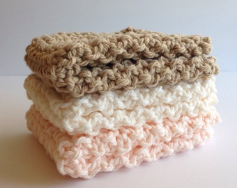 Knitted Washcloths, Set of 3 Knitted Washcloths, 100% Cotton Washcloth