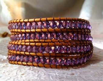 Leather Wrap Bracelet - Shimmering Purple Beads with Gold Luster (Bronze Leather Shown), Gypsy Wrap Bracelet, Boho Wrap Bracelet