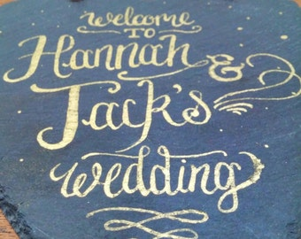 Gold Slate Chalk Board Heart Shaped Wedding Sign - completely custom