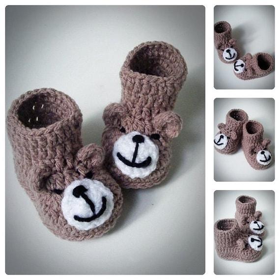 Crochet Baby Bear Booties Pattern : Crochet Teddy Bear Baby Booties Knitted Baby by DolcelinaShop