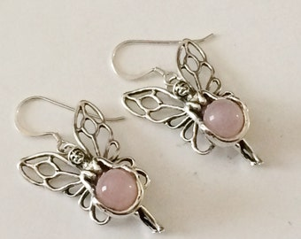 Sterling Silver And Rose Quartz Large Tinkerbelle Earrings