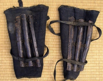 A pair of  authentic Japanese Sune-ate (shin guards) for Japanese armour Edo Period