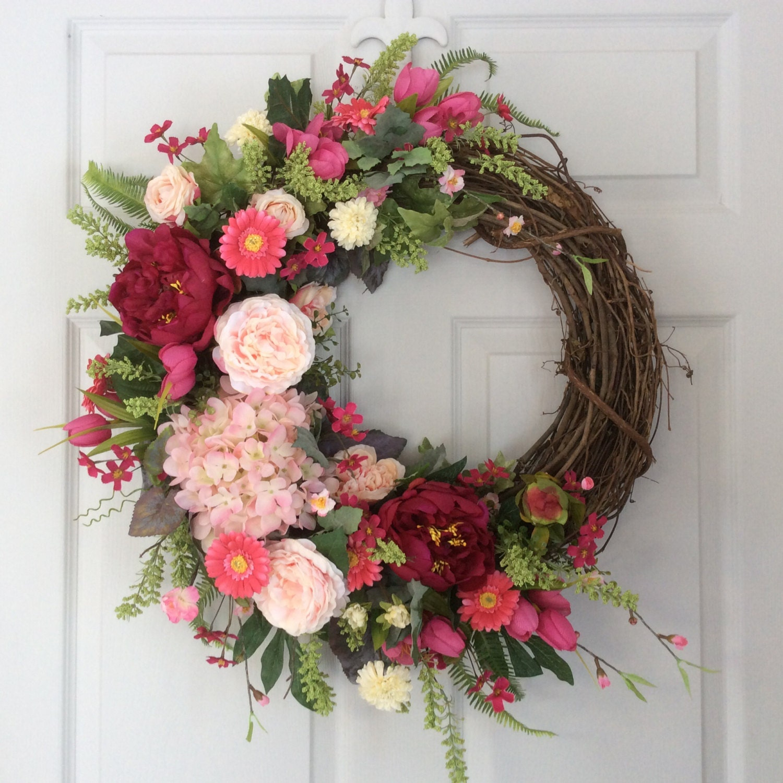 Garland For Front Door: Spring Wreath-Summer Wreath-Front Door By ReginasGarden On