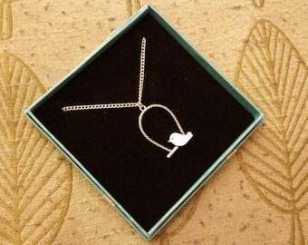 SALE Perch Bird Pendant Necklace, Bird Necklace, Bird Jewellery