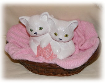 REDUCED . . PRECIOUS Up-Cycled Kittens In A Basket