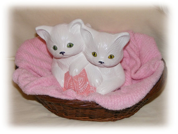 KITTENS In A BASKET . . Adorable Vintage Up-Cycled