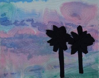 Fiber Art, Wall Hanging Beach Art Quilt, fiber art, Minature, home decor, abstract art quilt, wall art quilt, contempory art, palm trees
