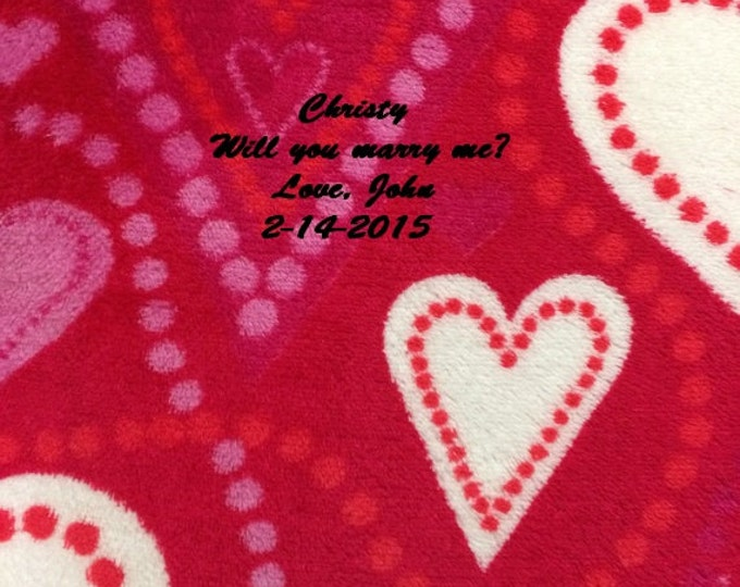Valentine's Hearts Soft Plush Throw Blanket - Personalized