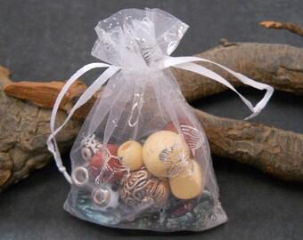 10 Organza Bags, 3.5x4.5, White Butterfly Bags,Supplies,Favor Bags,Drawstring Bag,Sheer Organza,Sheer Organza Bag,Jewelry Bag,Party,Gift Bag