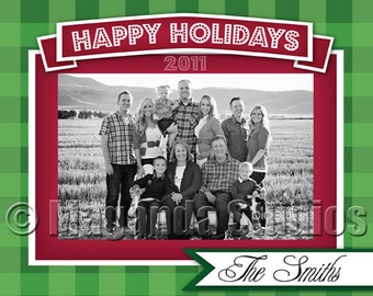 Happy Holidays Card - Red and Green