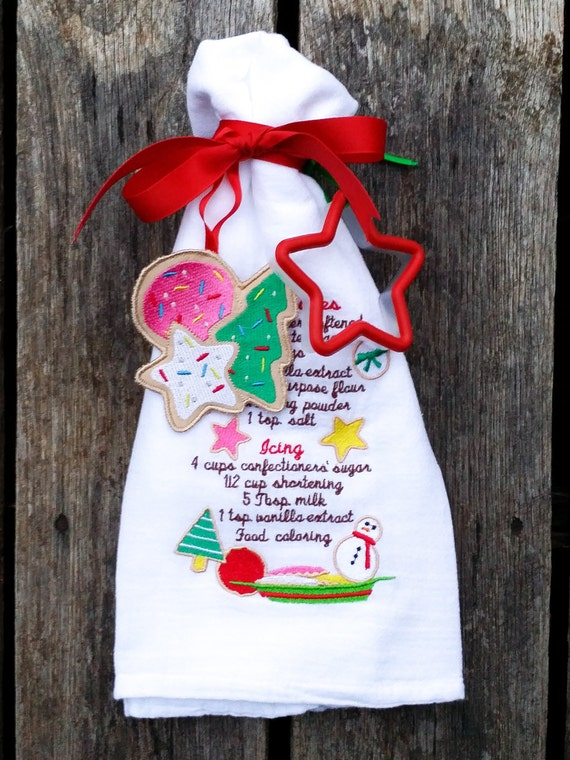 Items similar to tea towel christmas recipe gift set gift for Christmas kitchen gift basket ideas