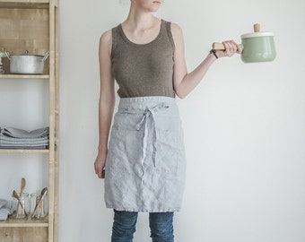 Linen half apron. Washed ice blue/silver grey, natural, eco - friendly, handmade linen apron.