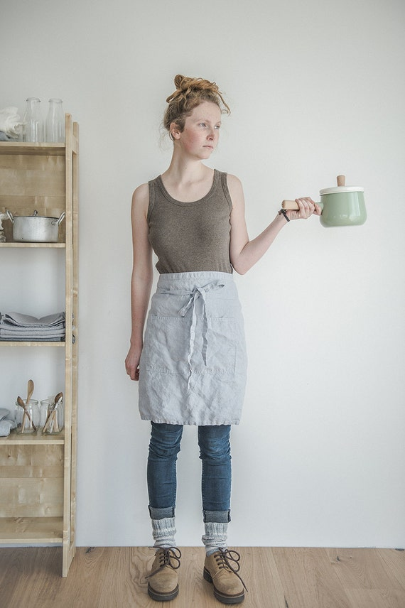 linen half apron washed ice bluesilver grey natural eco