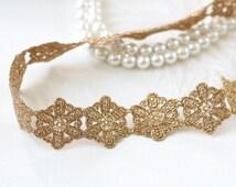 GOLD sash, Bridal sash, Bridesmaid Gift, metallic lace sash, hexagon flower pattern Sash, head tie, bridal belt, bridal shower gift,