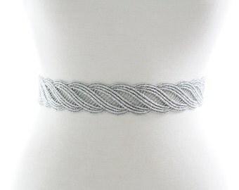 Gorgeous SILVER sash Bridesmaid Gift Sash Elegant metallic lace wave pattern Sash head tie bridal belt bridal shower bridesmaid gift