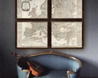 """Map of Europe 1794, Old Europe map, 5 sizes up to 48x40"""" (120x100cm) in 1 or 4 parts, historical map of Europe - Limited Edition of 100"""