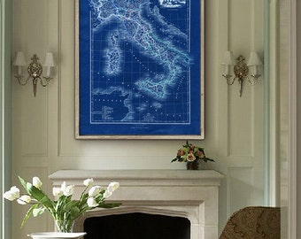 "Map of Italy 1878, Old Italy map in 4 different sizes up to 36x48"" (90x120 cm) Large Italian map also in blue - Limited Edition of 100"