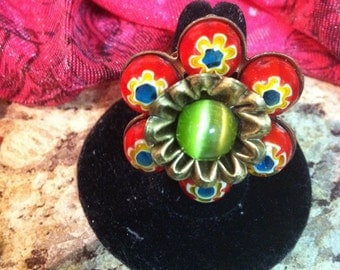 Hand Painted Bead Adjustable Flower Ring Free Shipping Domestic Only