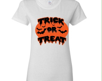 Trick Or Treat Ladies Shirt, Women Halloween TShirt... Trick Or Treat Halloween Shirt for Women