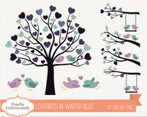 BUY 2 GET 1 FREE Lovebirds clipart in navy blue purple - Love birds clip art - Love bird on branch & tree wedding clipart, Commercial Use ok