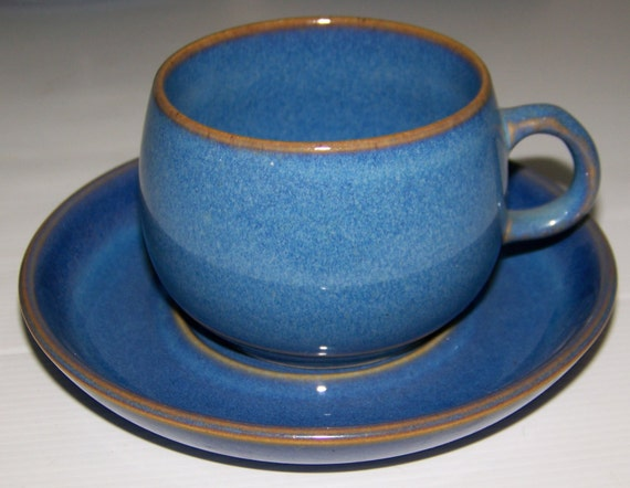 Authentic Denby English Stoneware Blue Glazed Coffee Tea Cup