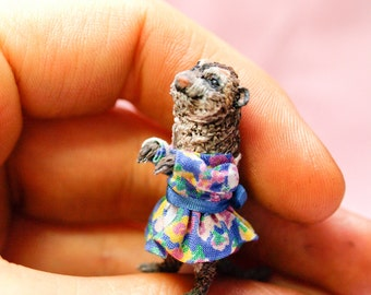 1/24th dolls house scale meerkat in little dress , ooak polymer clay hand sculpt