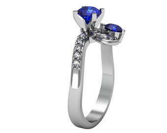 14k White Gold Blue and White Sapphire Ring, Solitaire Wedding Ring, Sapphire Proposal Ring, Custom Engagement Ring