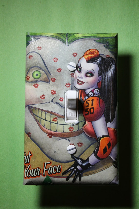 Harley quinn joker batman light switch plate by comicrecycled for Harley quinn bedroom ideas
