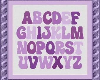 PURPLE ALPHABET/  -Counted cross stitch pattern /grille point de croix  ,Cross Stitch PDF, Instant download , free shipping