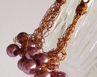 Dusty rose crochet earrings/ Copper Wire Earrings/ Dangle Earrings/ Crochet jewelry/ Wire Jewelry/ Earrings Copper Wire/Copper Earrings