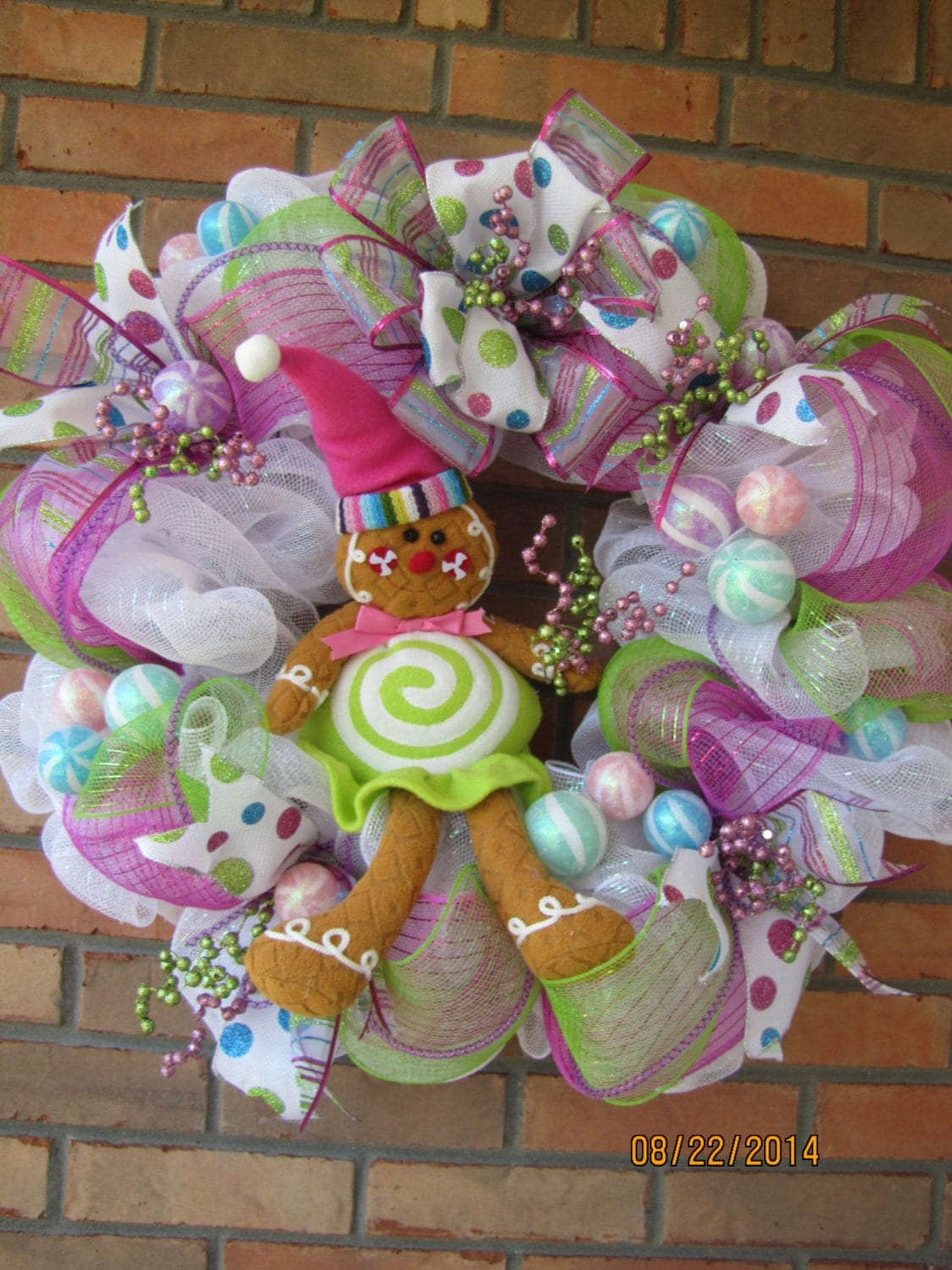 Gingerbread Wreath- Christmas wreath- Gingerbread house