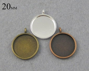 25 Pieces 20mm Round Pendant Trays, 20mm Circle Cabochon Setting, Round Glass Tray Flat and smooth surface