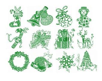 Set 12 Christmas Redwork Machine Embroidery DESIGN NO. 109