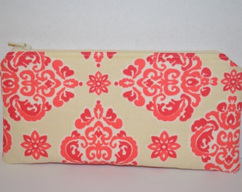 Coral and Cream Damask Pencil Pouch