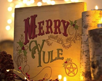 Merry Yule. Hand painted, wooden sign.
